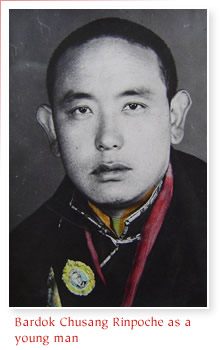 Bardok Chusang Rinpoche as a young man