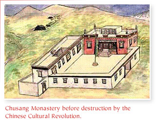 Chusang Monastery before the desctruction of the Chinese Cultural Revolution.