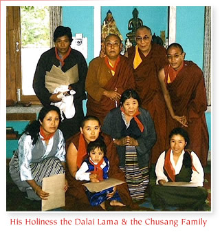 His Holiness the Dalai Lama and the Chusang Family