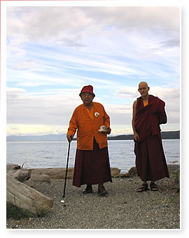Bardok Chusang and Karma Thinley on Denman Island, B.C.